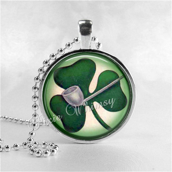 St Patricks Day SHAMROCKS Necklace, St. Patrick's Day Necklace, Glass Photo Art Necklace, Irish Clover, Irish Pride Jewelry, Good Luck
