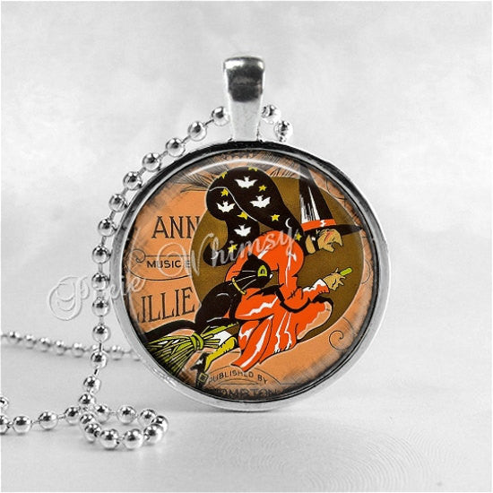 ART DECO HALLOWEEN Witch Pendant Necklace Jewelry, Art Deco Witch, Vintage Halloween, Witch Jewelry, Black Cat Glass Dome Photo Art Necklace