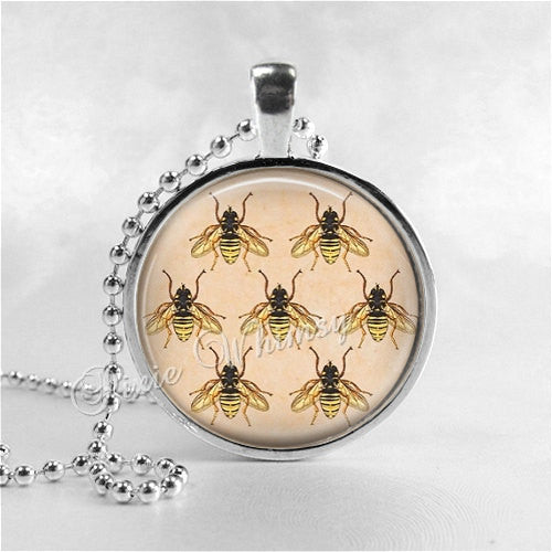 BEES Pendant Necklace, Honey Bee Jewelry, Queen Bee, Insect Jewelry, Bee Hive, Apiary, Beekeeping, Beekeeper, Bee Charm