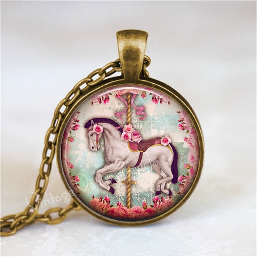CAROUSEL HORSE Necklace, Carnival Horse, Horse Pendant, Horse Jewelry, Horse Necklace, Glass Photo Art Necklace, Merry Go Round Horse