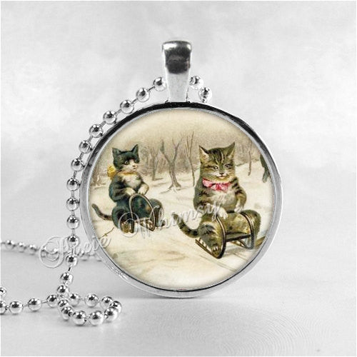CATS ON SLEDS Necklace, Cat Necklace, Cat Jewelry, Cat Pendant, Cat Charm, Sled, Sledding Cats, Winter, Snow,  Glass Photo Art Necklace