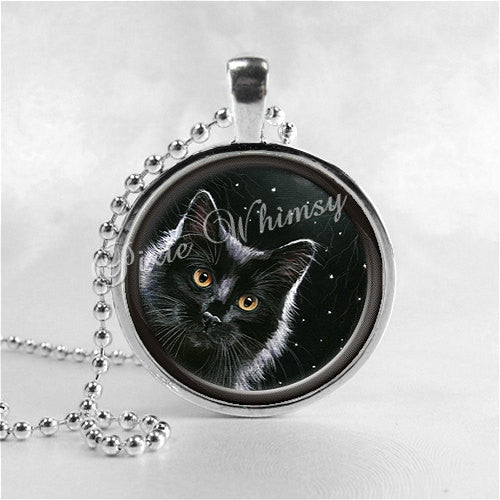 BLACK CAT Necklace, Cat Pendant, Cat Jewelry, Cat Charm, Glass Photo Art Necklace Pendant, Black Cat Jewelry, Black Cat Pendant