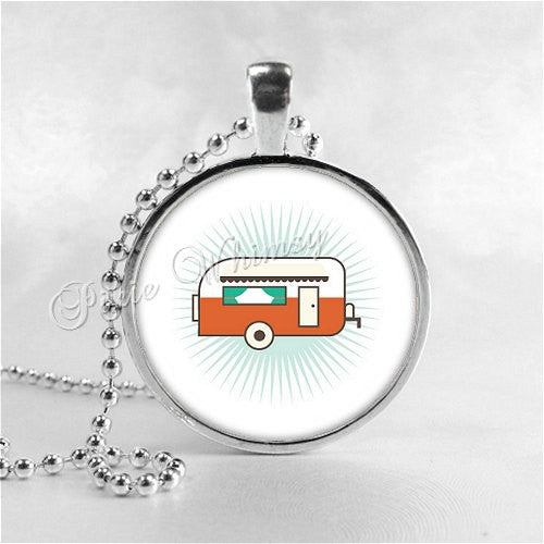 CAMPER Necklace Pendant, Canned Ham Camper Jewelry, Happy Camper, Glamping, RV, Camping, Vintage Camper Trailer, Glass Photo Art Necklace