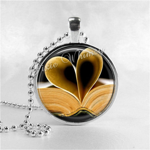 BOOK LOVER Necklace, Vintage, Library Books, Photo Art Pendant,Read, Book Lover Jewelry, Book Nerd, Antique Books,Librarian,Library