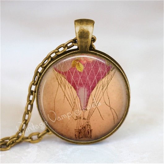 HOT AIR BALLOON Necklace, Vintage Hot Air Balloon, Glass Bezel Art Pendant Necklace