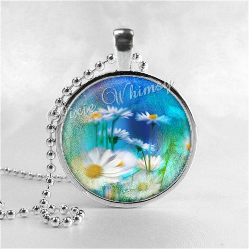 DAISY FLOWER Necklace, Daisy Flower Pendant, Flower Jewelry, Flower Charm, Glass Photo Art Pendant Necklace, Watercolor Flowers