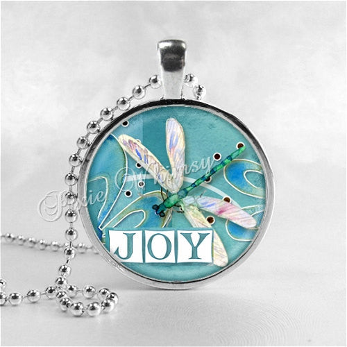 JOY Necklace, DRAGONFLY Necklace, Dragonfly Jewelry, Dragonfly Pendant, Dragonfly Charm, Glass Photo Art Pendant, Insect Jewelry