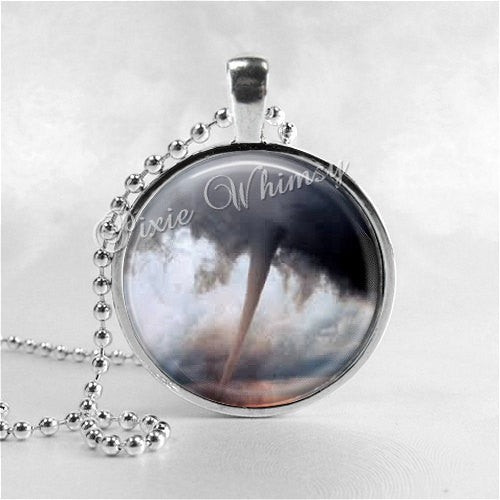 TORNADO Necklace,Tornado Pendant, Twister, Storm Chaser, Meteorologist, Weather, Elements, Glass Photo Art Necklace,Wizard of Oz,Meteorology