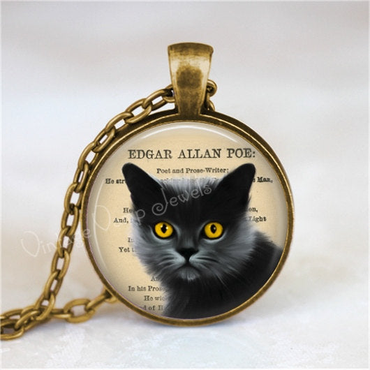 BLACK CAT Pendant Necklace Kitten Edgar Allan Poe Charm Gothic Art Halloween Jewelry