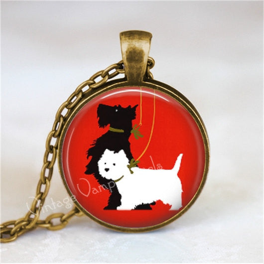 Scottish Terrier Necklace, Scotty Dog, Scottie Dog, Westie, West Highland White Terrier, Scotty Dog Necklace, Glass Art Pendant Necklace