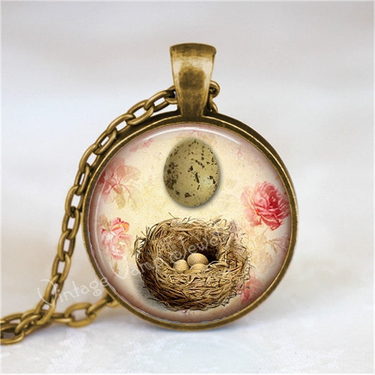 BIRD NEST Necklace, Nest, Egg, Bird Egg, Nest Necklace, Nest Pendant, Bird Necklace, Bird pendant, Glass Bezel Art Pendant Necklace