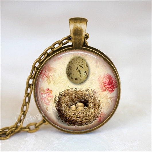 BIRD NEST Pendant Necklace Speckled Egg, Vintage Bird Egg, Nature Jewelry, Woodland, Pink Shabby Roses, Glass Bezel Art Pendant Necklace