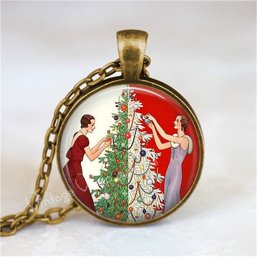 Christmas Necklace, Art Deco Christmas, Christmas Tree Jewelry, Vintage Christmas Necklace, Christmas Jewelry, Glass Art Pendant Necklace