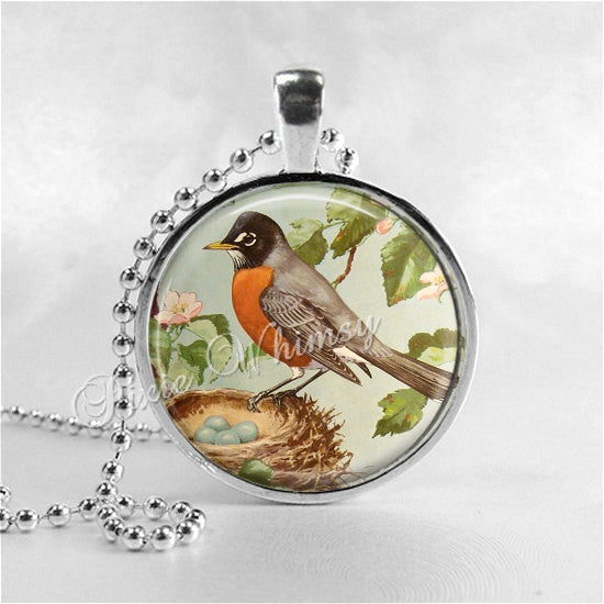 ROBIN Necklace, Robin Pendant, Robin Jewelry, Robin Bird, ird Nest, Robin Egg, Woodland,Robin Charm, Glass Photo Art Necklace, Bird Necklace
