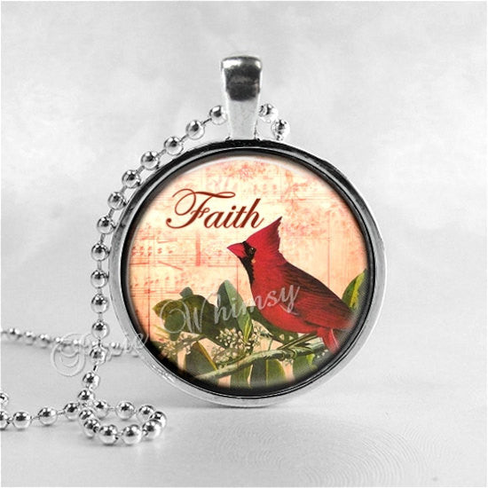 CARDINAL Pendant, Cardinal Necklace, Cardinal Jewelry, Red Bird, Faith, Inspirational Word Necklace, Glass Photo Art Necklace, Cardinal Bird