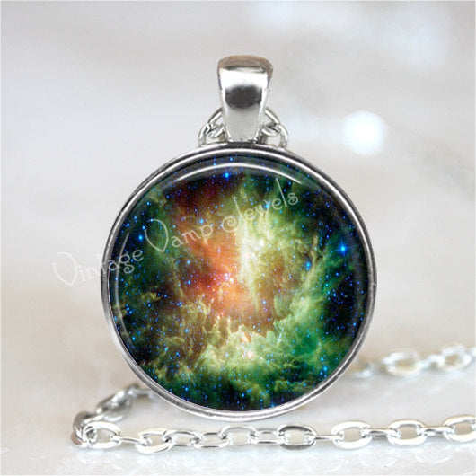 NEBULA Pendant Necklace Galaxy Universe Jewelry, Outer Space Planet Universe Stars Constellation, Glass Photo Art Necklace