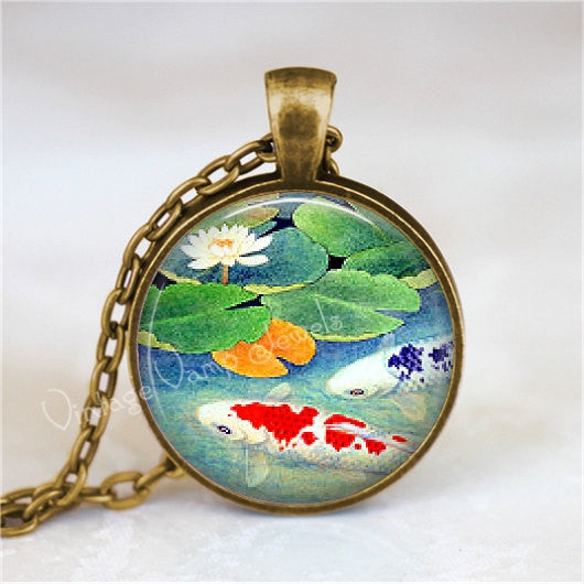 KOI FISH Necklace, Japanese Koi Fish, Koi Fish Pendant, Asian Art, Glass Photo Art Pendant, Insect Jewelry, Glass Bezel Necklace