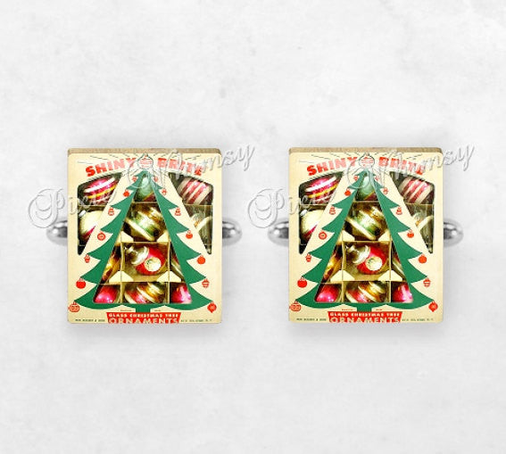 SHINY BRITE ORNAMENTS Scrabble Tile Cufflinks, Cuff Links, Christmas Cuff Links, Vintage Christmas, Mens Accessories, Gifts for Men, Holiday