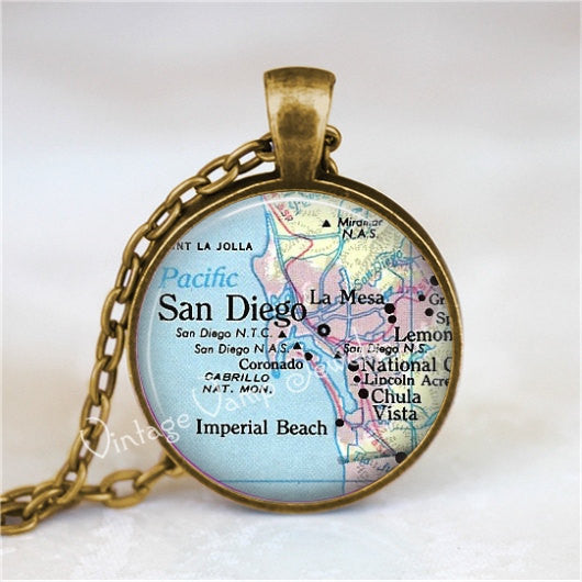 SAN DIEGO California Necklace, San Diego Map, San Diego Pendant, California Necklace, California Pendant, Map Necklace, Glass Art Necklace