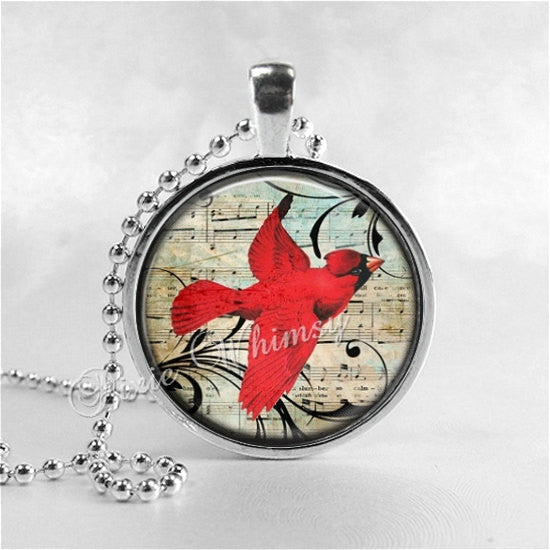 CARDINAL Necklace, Cardinal Pendant, Cardinal Jewelry, Cardinal Bird, Cardinal Charm, Glass Photo Art Necklace, Bird Necklace, Cardinal