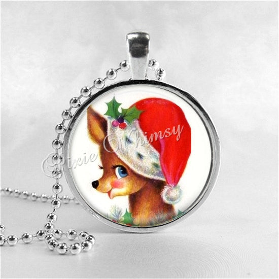 Deer Necklace, Christmas Deer, Christmas Necklace, Christmas Jewelry, Christmas Pendant, Deer Pendant, Reindeer, Merry Christmas