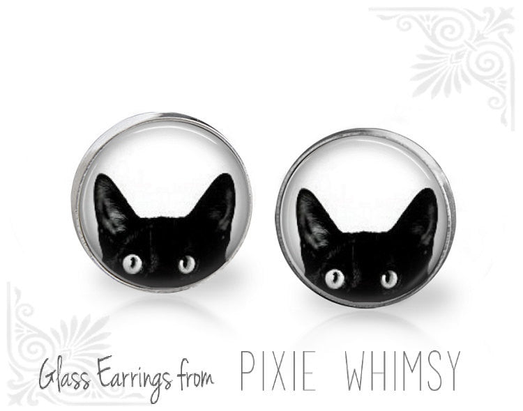 PEEKING CAT Earrings, Cat Earrings, Cat Jewelry, Cat Stud Earrings, Cat Post Earrings, Stud Earrings, Post Earrings, Pierced Earrings, Cat