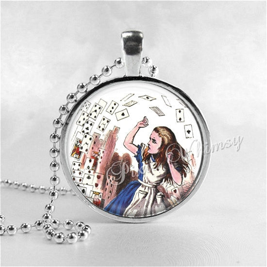 ALICE In WONDERLAND Necklace, Alice In Wonderland Cards, Photo Art Glass Necklacle, Alice in Wonderland Jewelry, Alice in Wonderland Pendant