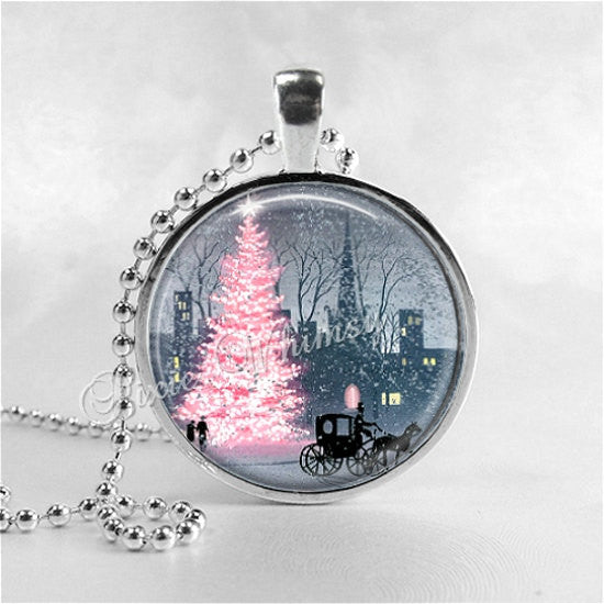 PINK CHRISTMAS Necklace, Pink Christmas Tree, Christmas Necklace, Christmas Jewelry, Pink Shabby Christmas, Christmas Pendant