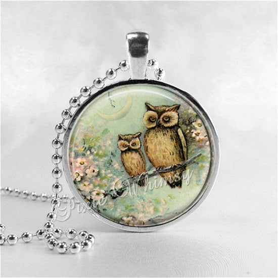 OWL Necklace, Owl Pendant, Owl Jewelry, Owl Charm, Bird Necklace, Vintage Owl Print, Mother and Child, Photo Art Glass Necklace Pendant
