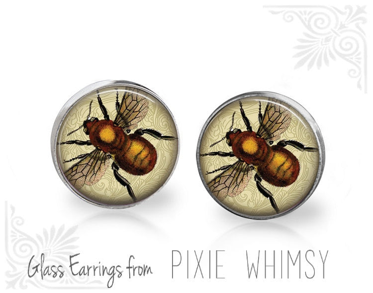 BEE Earrings, Bee Jewelry, Bee Stud Earrings, Bee Post Earrings, Stud Earrings, Bee Pierced Earrings, Honey Bee, Beekeeping, Beekeeper