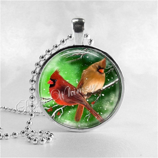 CARDINAL Necklace, Cardinal Bird Necklace, Cardinal Jewelry, Red Bird, Cardinal Charm, Cardinal, Glass Photo Art Necklace, Bird Necklace