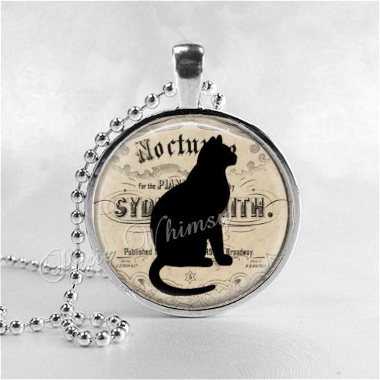 CAT Necklace, Cat Pendant, Cat Jewelry, Cat Charm, Glass Photo Art Necklace Pendant, Cat Silhouette,Black Cat Necklace, Black Cat Jewelry