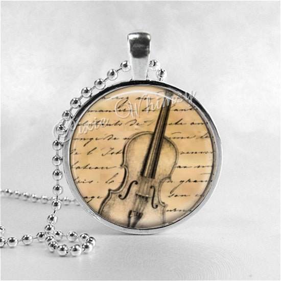 VIOLIN Necklace, Violin Pendant, Violin Jewelry, Musician, Music Necklace, Violinist, Orchestra, Music Jewelry, Glass Photo Art Necklace