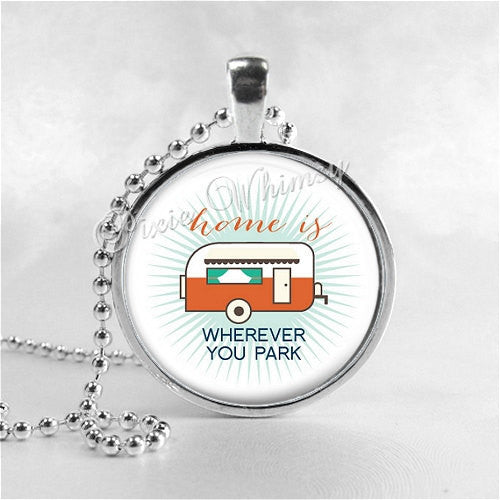 CAMPER Necklace, Camper Pendant, Camper Jewelry, Happy Camper, Glamping, RV, Camping, Vintage Camper, Trailer, Glass Photo Art Necklace