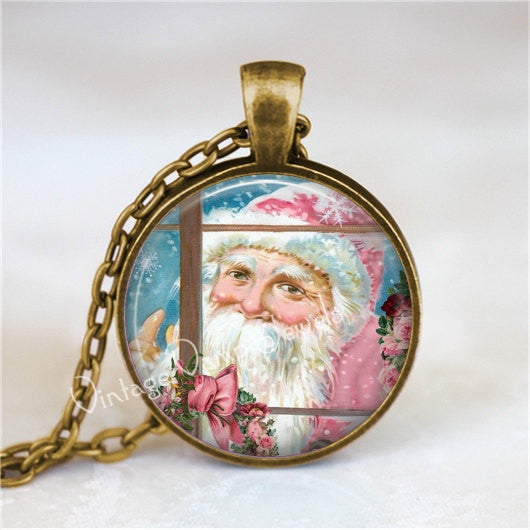 Christmas Necklace, Santa Claus Necklace, Santa Claus Jewelry, Pink Christmas, Pink Santa, Christmas Jewelry, Glass Art Pendant Necklace