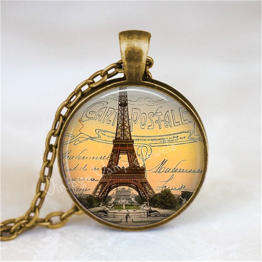 EIFFEL TOWER Pendant Necklace Paris France Shabby French Souvenir Glass Art Pendant Necklace, French Jewelry, Gift for Traveler