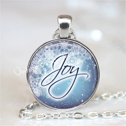 JOY Necklace, Inspirational Word, Joy Pendant, Inspirational Jewelry, Joy Jewelry, Motivational Words, Glass Photo Art Pendant Necklace