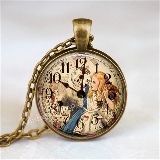 ALICE In WONDERLAND Necklace, Steampunk Necklace, Vintage Clock, Alice in Wonderland Jewelry, Fantasy, Glass Bezel Art Pendant Necklace