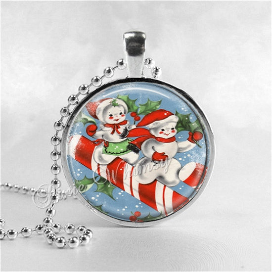 VINTAGE CHRISTMAS SNOWMAN Necklace, Snowmen, Snowman, Vintage Christmas Necklace, Christmas Jewelry, Candy Canes, Christmas Pendant