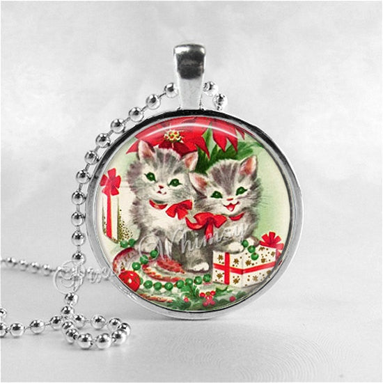 CHRISTMAS CAT Necklace, Kitten Necklace, Cat Pendant, Cat Jewelry, Cat Charm, Glass Photo Art Necklace Pendant, Christmas Jewelry, Gifts