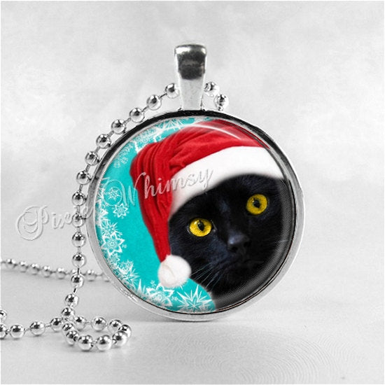 Christmas BLACK CAT Necklace, Black Cat Pendant, Black Cat Jewelry, Santa Cat, Glass Photo Art Necklace, Black Cat Jewelry, Santa Claus Cat