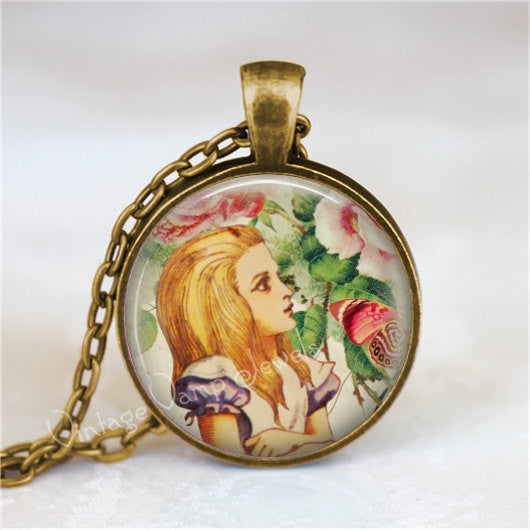 ALICE In WONDERLAND Necklace, Alice in Wonderland Jewelry, Alice in Wonderland Pendant, Fantasy, Pink, Pink Roses, Alice in Wonderland