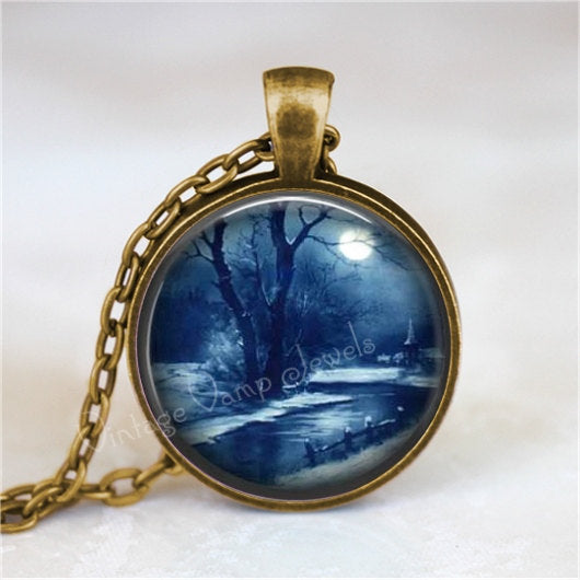 WINTER SCENE Necklace, Winter Scene Pendant, Snow Scene, Christmas Scene, Full Moon, Moonlight, Seasonal, Glass Art Pendant Necklace