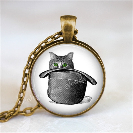 CAT Necklace, Cat Pendant, Cat Jewelry, Cat Charm, Top Hat, Vintage Cat Illustration, Cat Art, Glass Photo Art Necklace Pendant