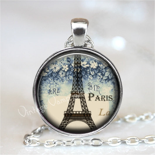 EIFFEL TOWER Necklace, Paris, France, Shabby, French, Eiffel Tower Pendant, Glass Photo Art Pendant, Glass Art Necklace, French Necklace