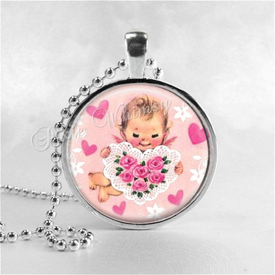 CUPID Necklace Pendant Jewelry, Cupid Jewelry, Vintage Valentine's Day Jewelry, Pink Angel, Pink, Hearts, Pink Shabby Roses, Love