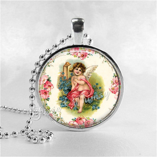 CHERUB Pendant Necklace, Valentine's Day Jewelry, Cupid Necklace, Vintage Victorian Valentine Art Angel Pink Hearts Shabby Roses Love