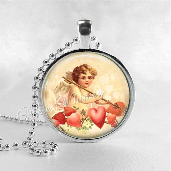 CUPID Necklace Pendant Jewelry Vintage Victorian Valentine Valentine's Day Jewelry Angel Cherub Pink Hearts Shabby Roses Love Romantic