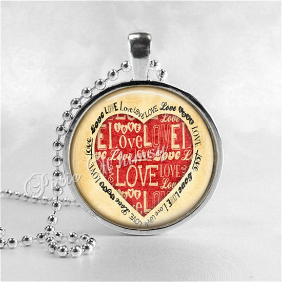 VALENTINE HEART Pendant Necklace, Heart Jewelry, Valentine's Day Jewelry, Love, Vintage Valentine, Romantic Necklace, Valentine Word Art