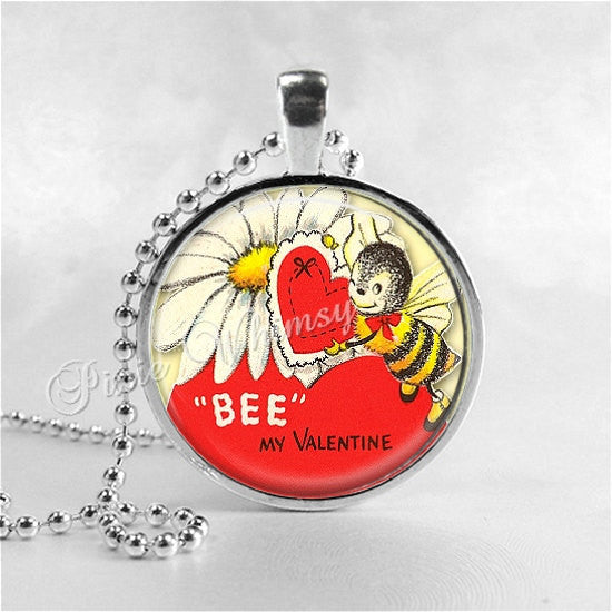 BEE VALENTINE Pendant Necklace, Valentine Jewelry, Honey Bee Jewelry, Vintage Retro Valentine Card Love Heart Gift for Beekeeper Beekeeping